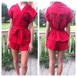 Free People red 2 pc wrap shorts suit/ S